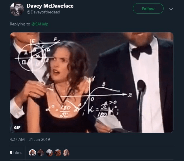 Album cover - Davey McDaveface Follow @Daveyofthedead Replying to @EAHelp GIF 4:27 AM 31 Jan 2019 5 Likes