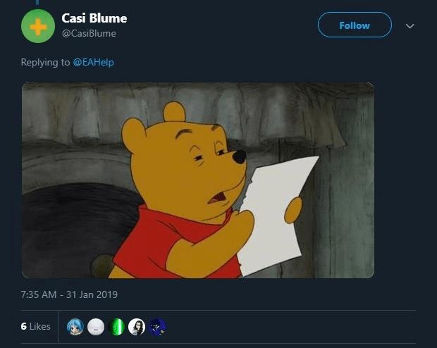 Cartoon - Casi Blume Follow @CasiBlume Replying to @EAHelp 7:35 AM 31 Jan 2019 6 Likes