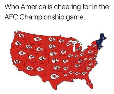 """Caption that reads, """"Who America is cheering for in the AFC championship game"""" above a map of the United states that shows every state rooting for Kansa City except for two states on the East Coast"""