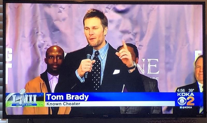 News - HE 4:56 39° KDKA HIL Tom Brady 02 Known Cheater SUPER DOWL @KDKA TCL