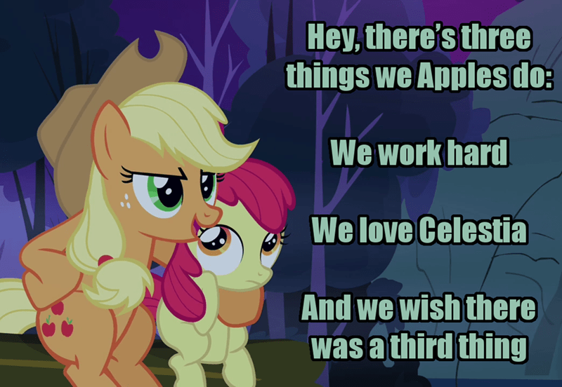 applejack incorrect my little pony quotes sleepless in ponyville apple bloom screencap moral orel - 9266568192