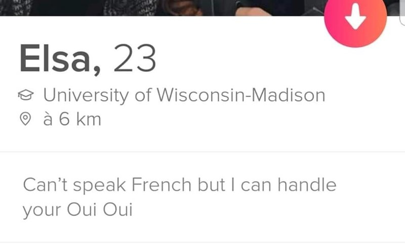 tinder profile Can't speak French but I can handle your Oui Oui