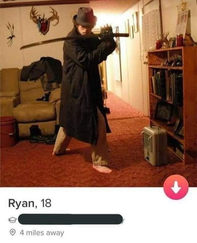 picture guy holding sword Ryan, 18 4 miles away