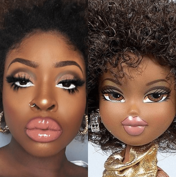 Pic of a black woman next to a pic of a Bratz doll