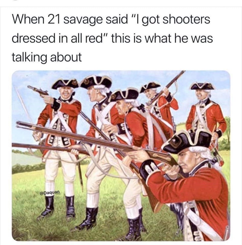 """Team - When 21 savage said """"I got shooters dressed in all red"""" this is what he was talking about @Daquan"""