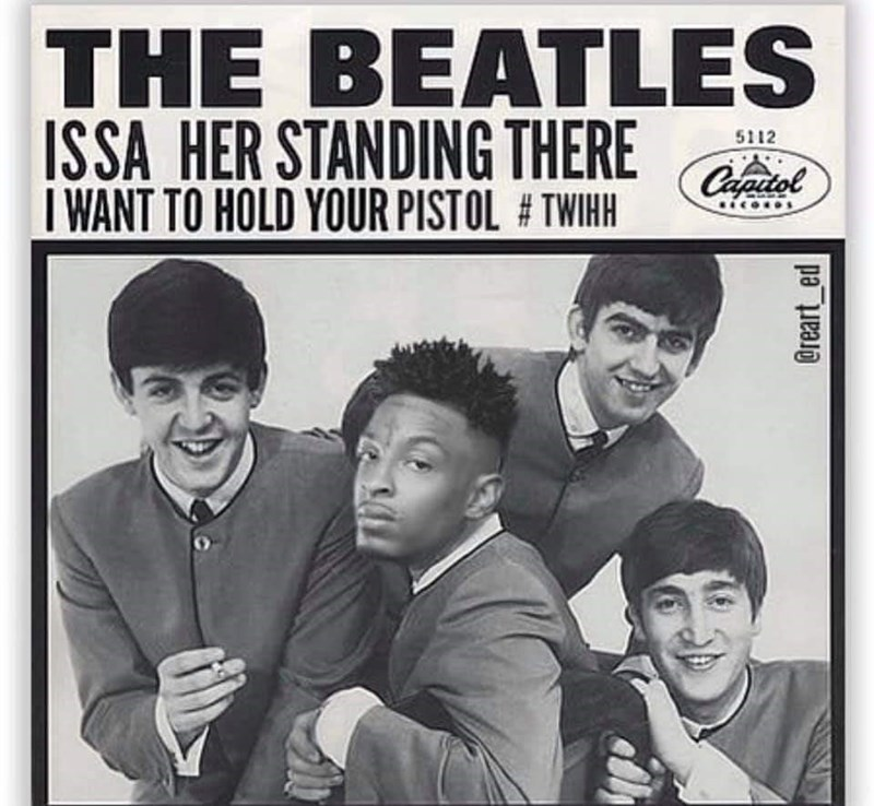 Album cover - THE BEATLES ISSA HER STANDING THERE I WANT TO HOLD YOUR PISTOL # TWIHH 5112 @reart_ed