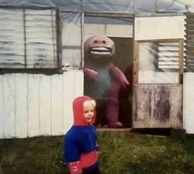 cursed_image - barney creepy