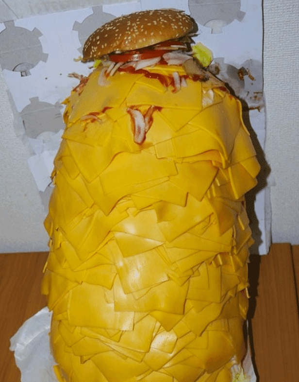 cursed_image - tower of american cheese and a burger