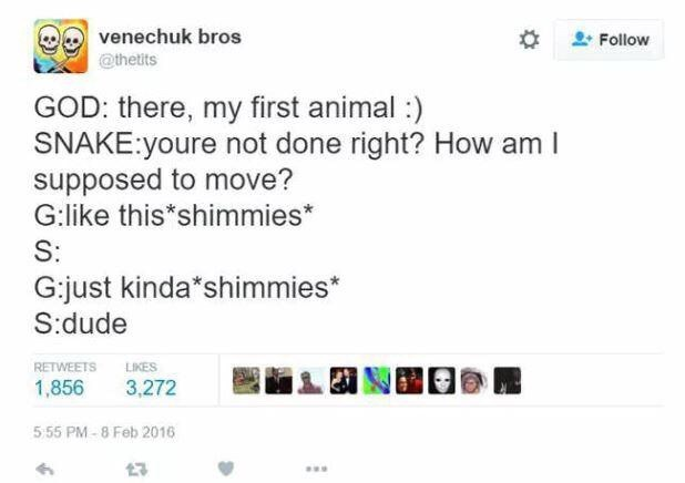twitter post about god GOD: there, my first animal :) SNAKE:youre not done right? How am supposed to move? G:like this shimmies* S: G:just kinda shimmies* S:dude