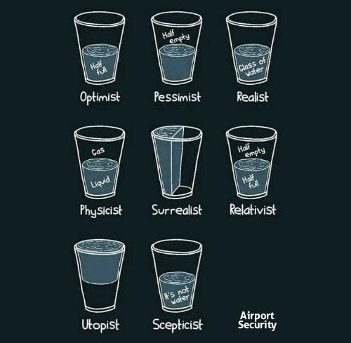 tsa meme - Pint glass - Half empty Half full Class of vater Optimist Pessimist Realist Cas Half empty Liquid Half ful Physicist Surrealist Relativist t's not water Utopist Scepticist Airport Security