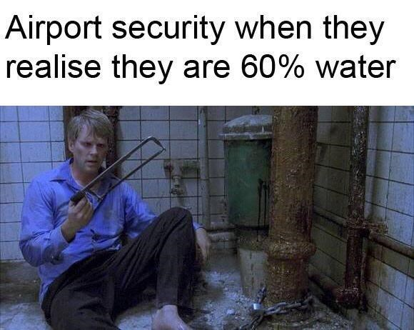 tsa meme - Text - Airport security when they realise they are 60% water