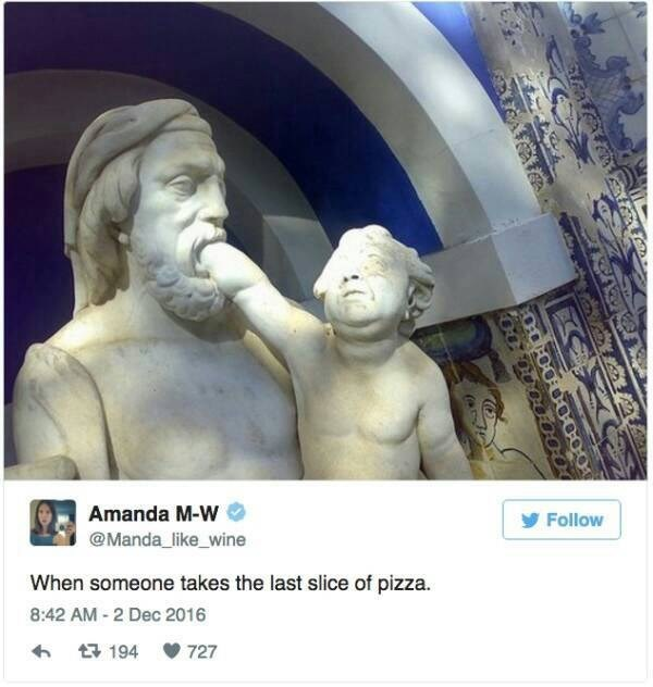 "Caption that reads, ""When someone takes the last slice of pizza"" below a pic of a sculpture of a baby putting its hand into a man's mouth"