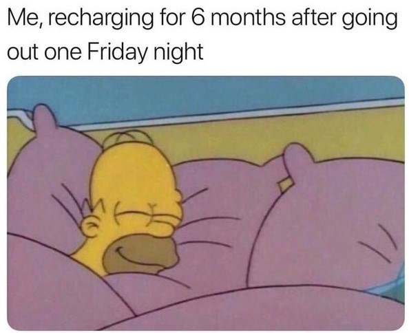 Funny meme about recharging for six months after going out for one friday night.