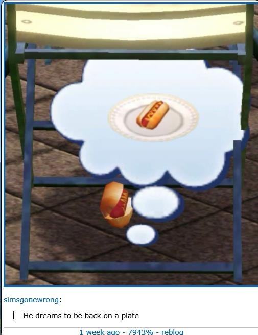 Screenshot - simsgonewrong: He dreams to be back on a plate 1 week ago 7943% - reblog M