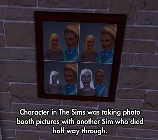 Facial expression - Character in The Sims was taking photo booth pictures with another Sim who died half way through.