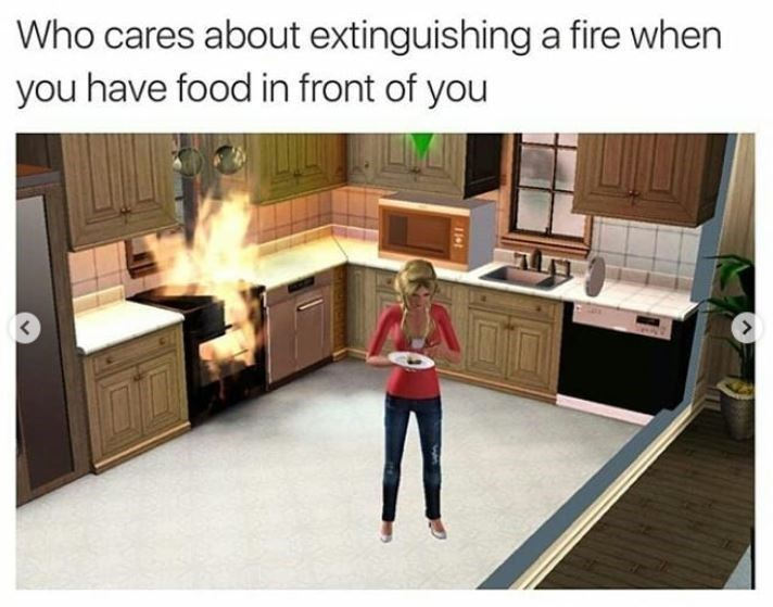 """Caption that reads, """"Who cares about extinguishing a fire when you have food in front of you"""" above a pic of a Sim character eating a plate of food while there's a fire in the background"""