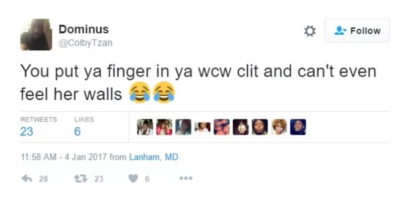 Text - Dominus Follow @ColbyTzan You put ya finger in ya wcw clit and can't even feel her walls LIKES RETWEETS 23 11:58 AM -4 Jan 2017 from Lanham, MD 28 1 23