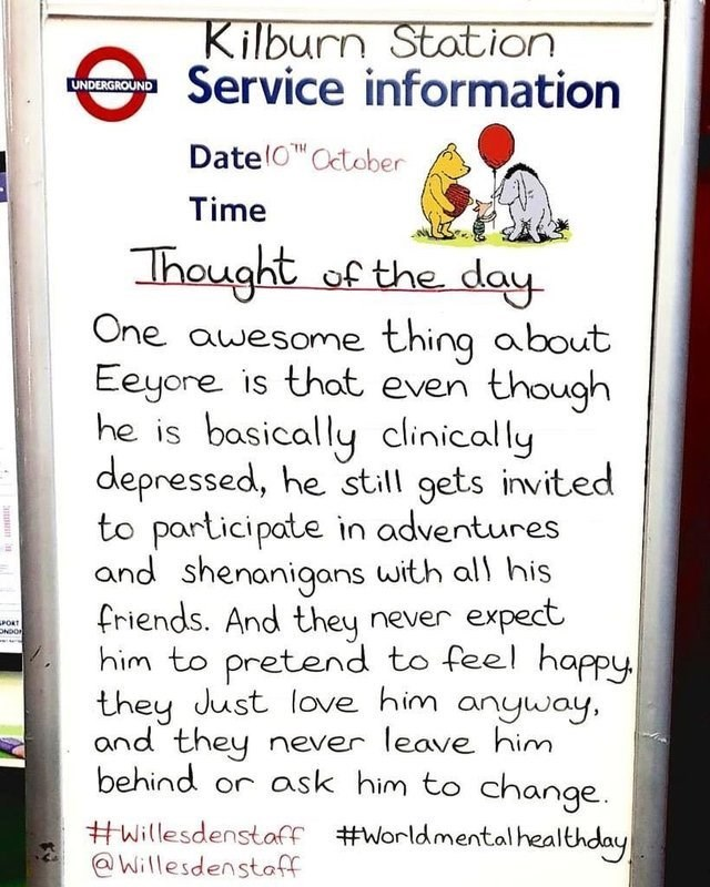 wholesome meme about Eeyore not getting left behind from winnie the pooh