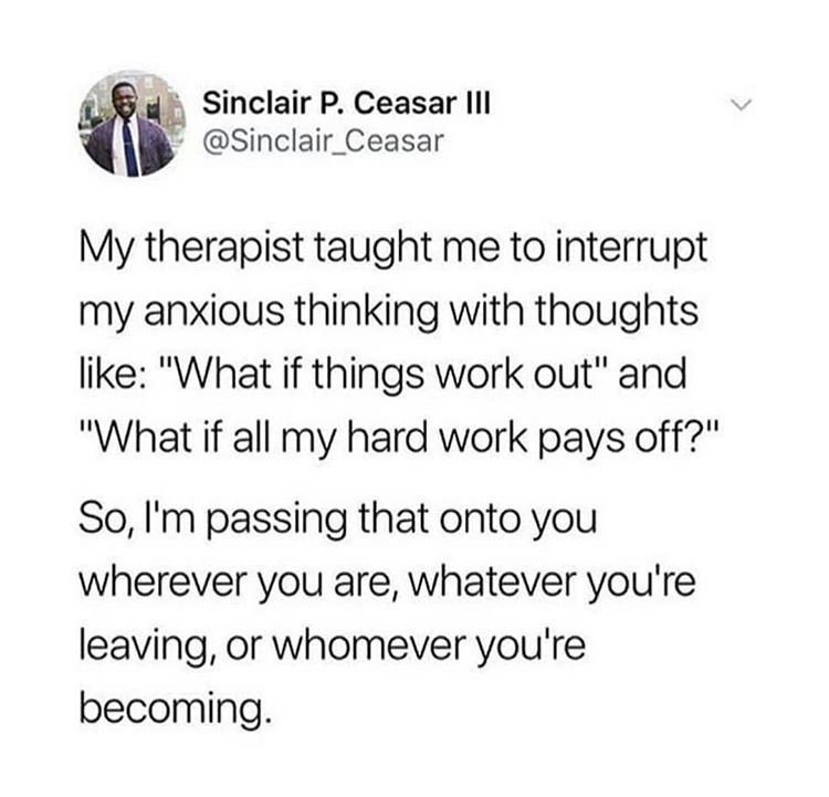 wholesome meme about dealing with anxious thoughts