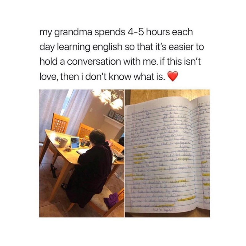 wholesome meme of a grandma who is learning English to converse with her grandchild