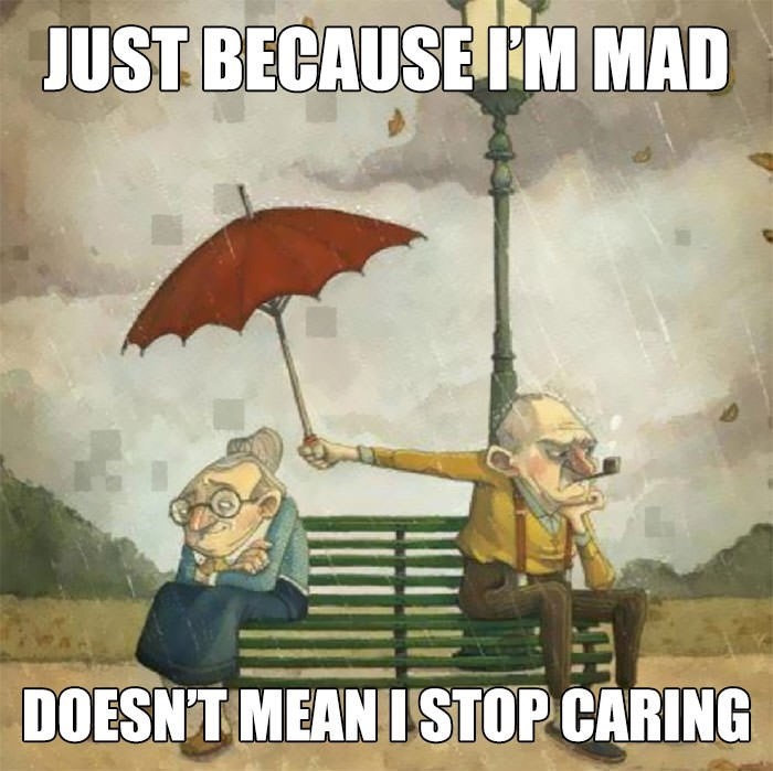 wholesome meme about being upset with someone doesn't mean you don't care