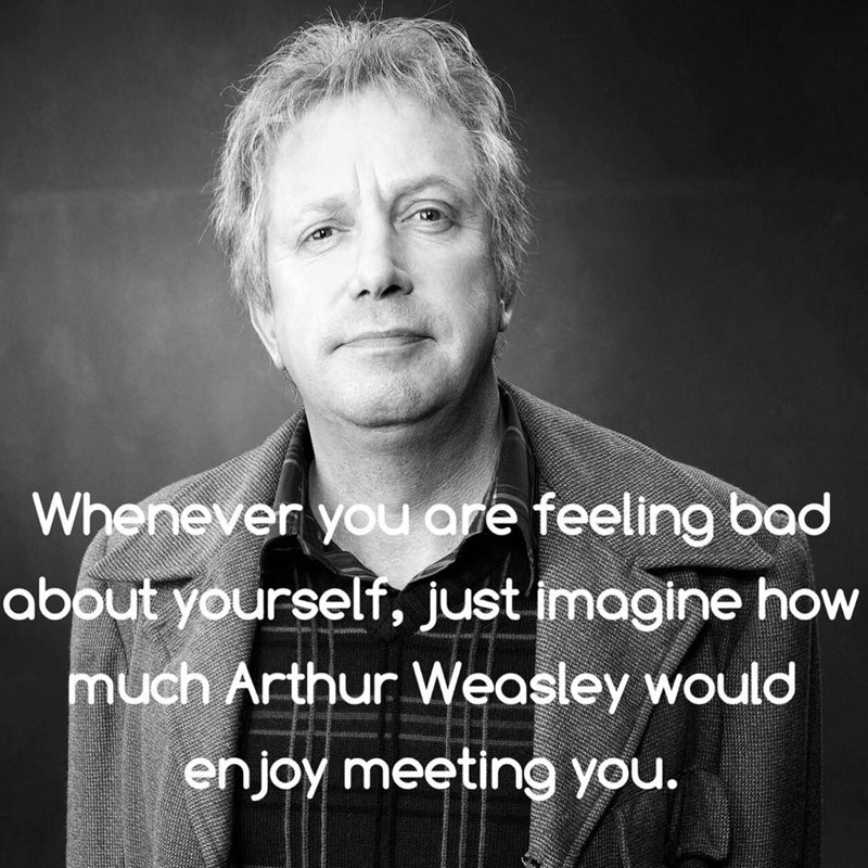 wholesome meme about how Arthur Weasley would love to meet you