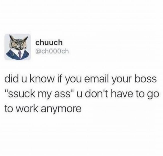 "Text - chuuch @ch000ch did u know if you email your boss ""ssuck my ass"" u don't have to go to work anymore"