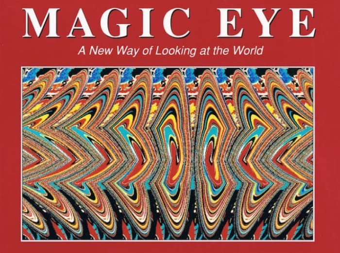"""Magic Eye"" book cover with a pic of an optical illusion"