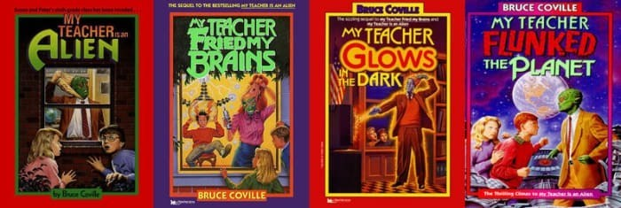 Poster - THE SEQUEL O THE BESTSNGTEACHER A A BRUCE COVILLE BRUCE COVILLE MY TEACHER MY TEACHER TACHER RIEDMY MY TEACHER GLOWS WHE DARK FLUNKED THE PLANET s an ALIEN BRAINS by Buce Cel The n C e sanA BRUCE COVILLE