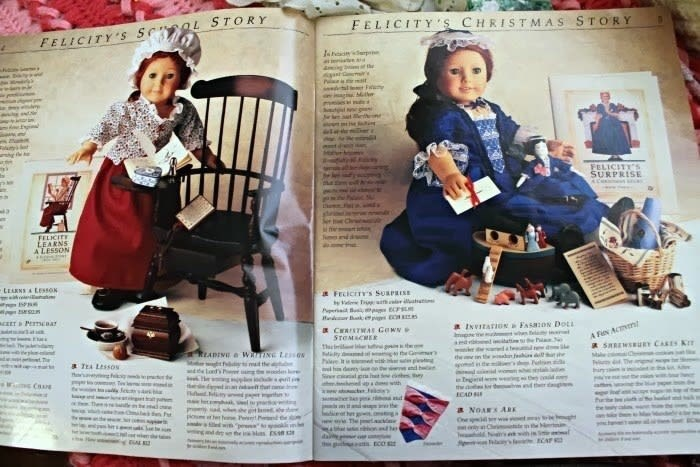 Vintage advertisement - FELICITY S CHRISTMAS STORY FELICITY s Se L STORY Jann A g r the Pe ag FELICITYS SURPRISE A ma FELICITE EEARNS A LESSON LEARNS &LESSON a FEcICITY'S SUSPRISE i aCET PESTCBAY ed k a INvItaTION FasaON DOLL CERSTMAS GewN STOMSCHER theii ty het ed wi g ad h de nd he A F A SRRENSEURY CARES KI he amd i n ww d den the di h o n READING WRING L t f mt the e londs wdes g p r ee din e t d he a TEA LessoN a d wth d dg the ECAD a a l nd t and the d e t e sh hoe P e a ed w p kn e ias Ess