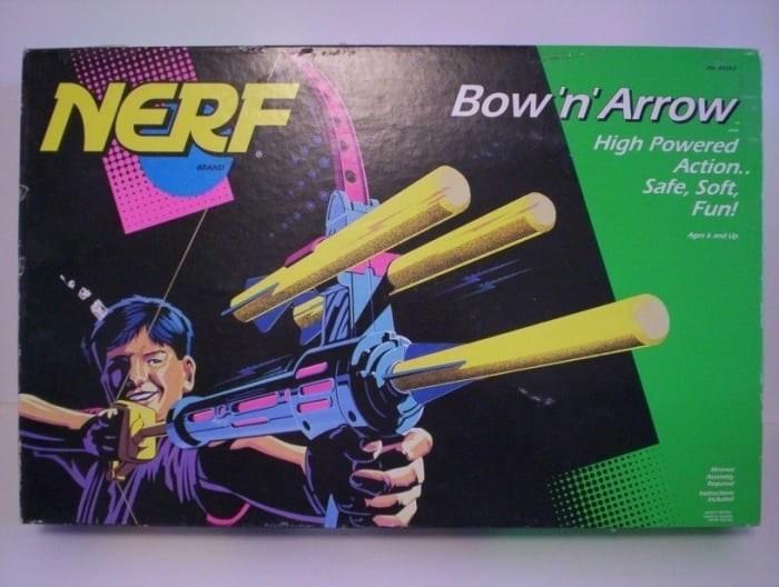 Text - Bow'n Arrow NERF High Powered Action.. anAAD Safe, Soft Fun! Apeand Lp