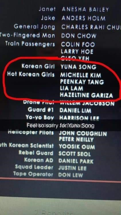 Text - Janet ANESHA BAILEY Jake ANDERS HOLM General Jong CHARLES RAHI CHU wo Fingered Man DON CHOW Train Passengers COLIN FOo LARRY HOE CLEO YEH Korean Girl YUNA SONG Hot Korean Girls MICHELLE KIM PEENKAY TANG LIA LAM HAZELTINE GARIZA Drone r ILLEM JACOBSON Guard 1 DANIEL LIM Yo-yo Boy HARRISON LEE Feel so soriry forYuna Song Hellcopter Pilots JOHN COUGHLIN PETER NEILLY th Korean Sclentist YOOSIK OUM Rebel Guard SCOTT SEOL Korean AD DANIEL PARK Squad Leader JUSTIN LEE Tape Operator DON LEW