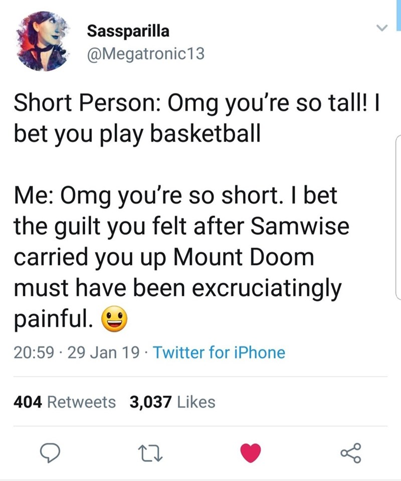 "Tweet that reads, ""Short person: OMG you're so tall! I bet you play basketball; Me: OMG you're so short. I bet the guilt you felt after Samwise carried you up Mount Doom must have been excruciatingly painful"""