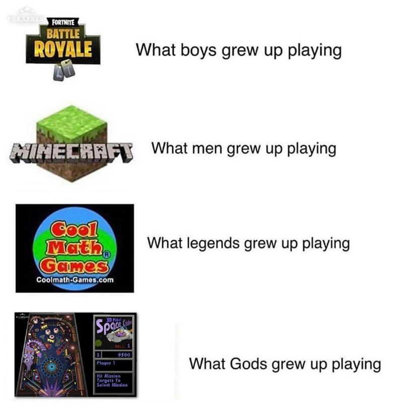 Font - PS EXPRES FORTNITE BATTLE ROYALE What boys grew up playing NIHECRAF What men grew up playing Cool Math Games What legends grew up playing Coolmath-Games.com 3D fit Spaces BALL 1 9500 What Gods grew up playing |Player Hit Mission Targets To Select Mission