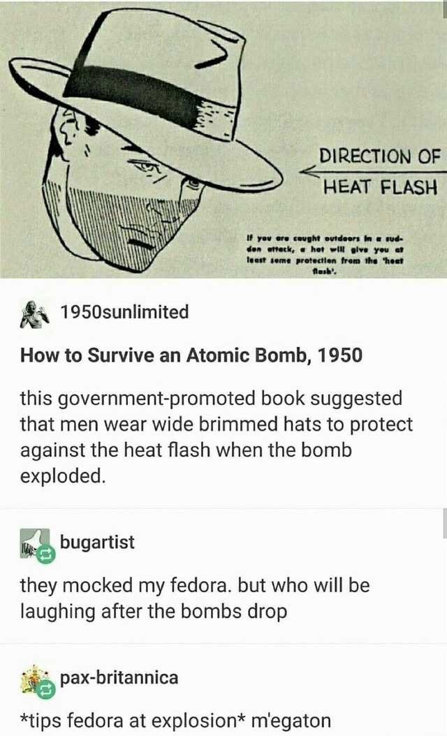 Text - DIRECTION OF HEAT FLASH If you are cought outdoors In e sud- den attack, hot will glve you at least seme protectlen frem the heat flesh 1950sunlimited How to Survive an Atomic Bomb, 1950 this government-promoted book suggested that men wear wide brimmed hats to protect against the heat flash when the bomb exploded. Mebugartist they mocked my fedora. but who will be laughing after the bombs drop pax-britannica *tips fedora at explosion* m'egaton