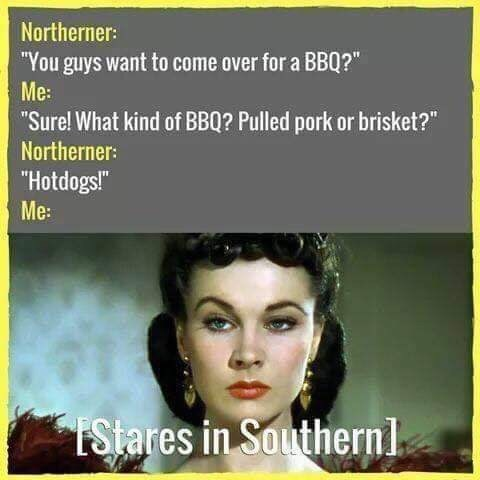 """Text - Northerner: """"You guys want to come over for a BBQ?"""" Me: """"Sure! What kind of BBQ? Pulled pork or brisket? Northerner: """"Hotdogs!"""" Me: TStares in Southernl"""