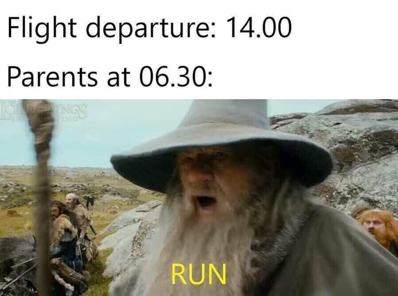 Adaptation - Flight departure: 14.00 Parents at 06.30: heINGS RUN