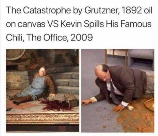 Text - The Catastrophe by Grutzner, 1892 oil on canvas VS Kevin Spills His Famous Chili, The Office, 2009
