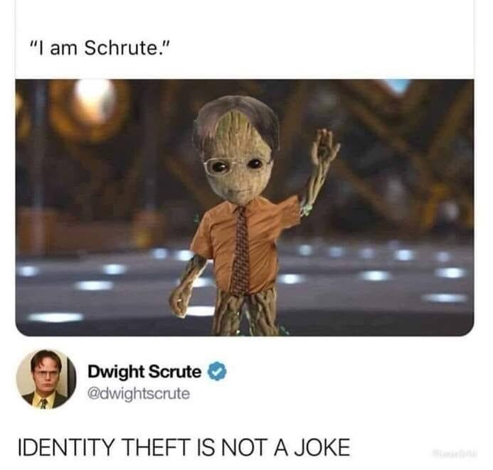 "Caption that reads, ""I am Schrute"" above a pic of baby Groot dressed as Dwight Schrute; Dwight replies below, ""Identity theft is not a joke"""