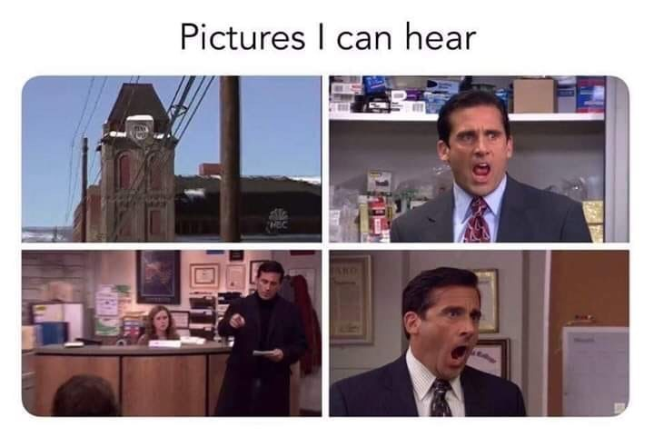 "Caption that reads, ""Pictures I can hear"" above pics of various scenes from the show"