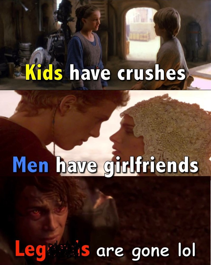 Photo caption - Kids have crushes Men have girlfriends Leg s are gone lol