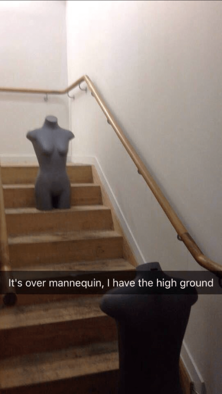 Stairs - It's over mannequin, I have the high ground