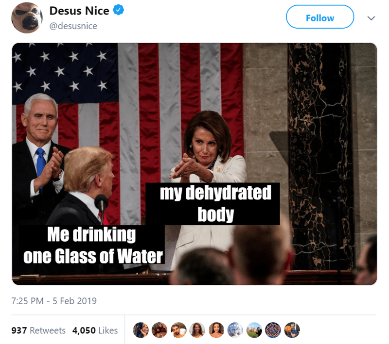 Text - Desus Nice Follow @desusnice my dehydrated body Me drinking one Glass of Water 7:25 PM - 5 Feb 2019 937 Retweets 4,050 Likes