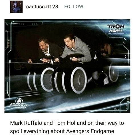 Vehicle - FOLLOW cactuscat123 TRON SA SHEY RESORT co Mark Ruffalo and Tom Holland on their way to spoil everything about Avengers Endgame