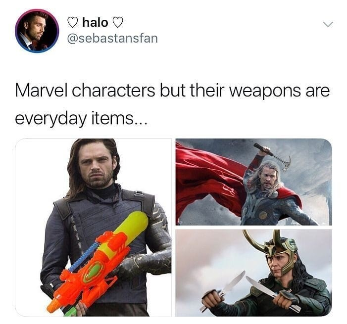Fictional character - halo @sebastansfan Marvel characters but their weapons are everyday items...
