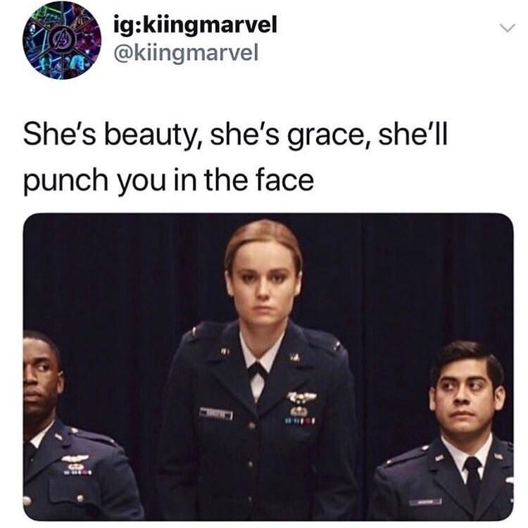 Team - ig:kiingmarvel @kiingmarvel She's beauty, she's grace, she'll punch you in the face