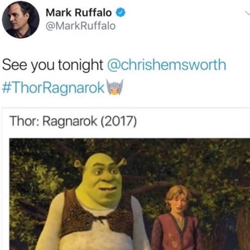 marvel meme - Text - Mark Ruffalo @MarkRuffalo See you tonight @chrishemsworth #ThorRagnarok Thor: Ragnarok (2017)