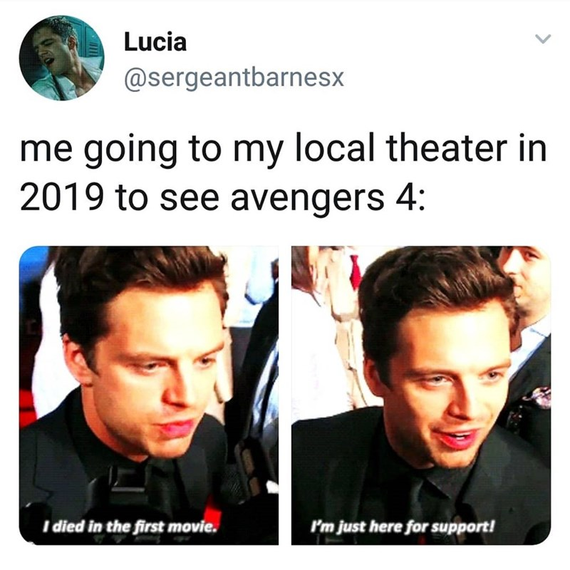 marvel meme - Face - Lucia @sergeantbarnesx me going to my local theater in 2019 to see avengers 4: I died in the first movie. I'm just here for support!