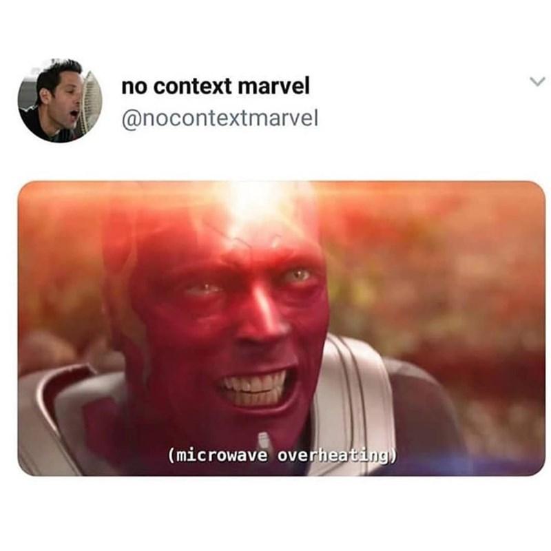 marvel meme - Face - no context marvel @nocontextmarvel (microwave overheating)