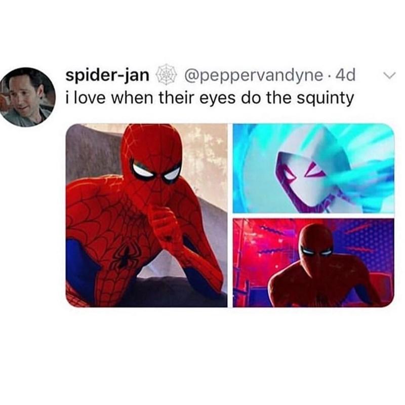 marvel meme - Spider-man - spider-jan i love when their eyes do the squinty @peppervandyne. 4d